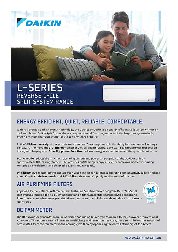 RCS-Air - Daikin Air Conditioners - L Series Reverse Cycle Split System Range